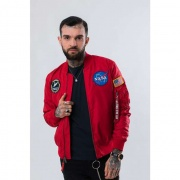 Pánska bunda ALPHA INDUSTRIES  MA-1 TT NASA REVERSIBLE II 328 ČERVENÁ