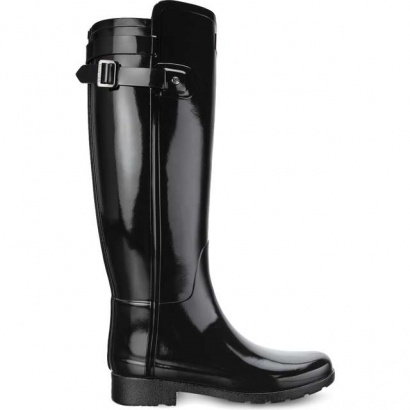 Dámske gumáky HUNTER  ORIGINAL REFINED BACK STRAP GLOSS BLACK