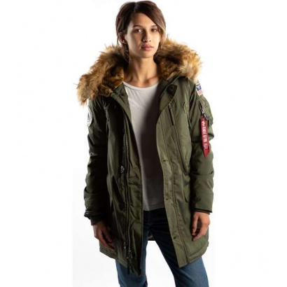 Dámska bunda ALPHA INDUSTRIES  POLAR JACKET WMN 257 DARK GREEN