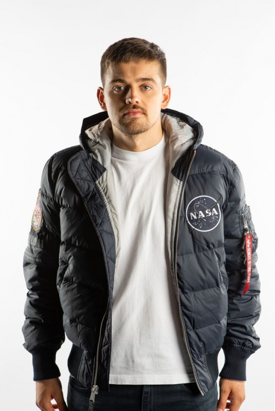 Pánska bunda ALPHA INDUSTRIES  HOODED PUFFER APOLLO 11 07 REP. BLUE