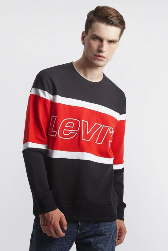 Mikina LEVIS  PIECED CREWNECK SWEATSHIRT 0000 BLACK