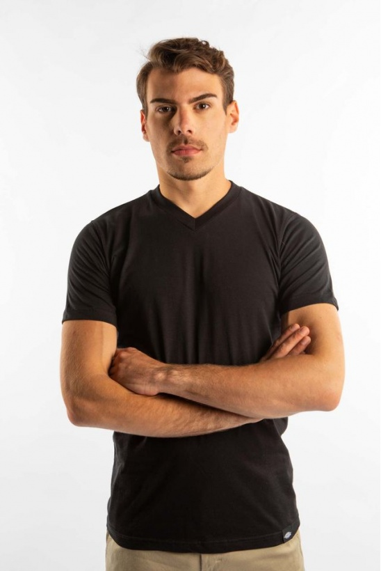 Pánske tričko DICKIES  V NECK T-SHIRT PACK 205 BK BLACK