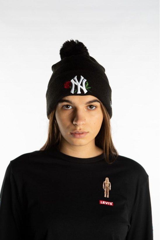Čiapka NEW ERA TWINE BOBBLE KNIT 621 BLACK